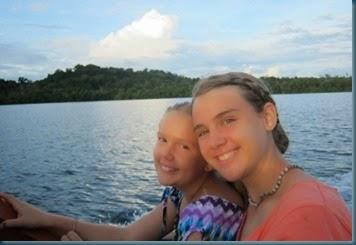 Sarah & Olivia in canoe SUN