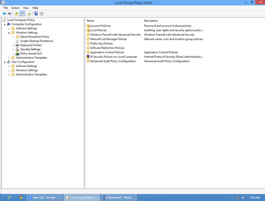 Windows 8 Group policy Computer Configuration