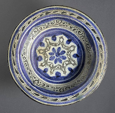 Bowl Egypt or Syria Bowl, 14th century Ceramic; Vessel, Fritware, underglaze-painted, 2 1/2 x 10 3/8 in. (6.35 x 26.35 cm) The Madina Collection of Islamic Art, gift of Camilla Chandler Frost (M.2002.1.51) Art of the Middle East: Islamic Department.