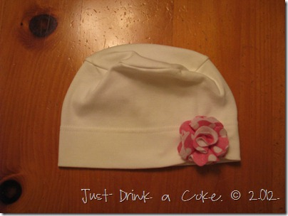 felt flower on sleep cap (2)