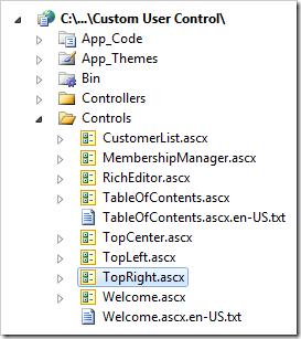 TopRight user control in Visual Studio's Solution Explorer.