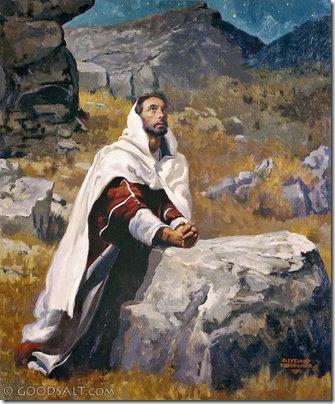 Jesus praying to God