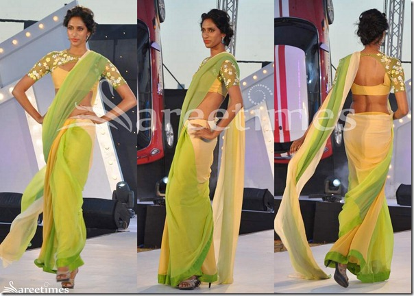 Green_Cream_Georgette_Saree