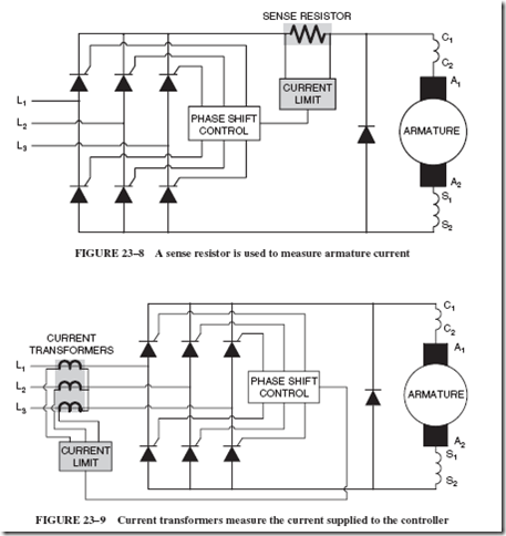 Solid state control of dc motors the shunt field power for Dc motor current limiter