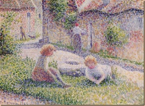 800px-Camille_Pissarro_019 Kinder auf einem Bauernhof pointillism