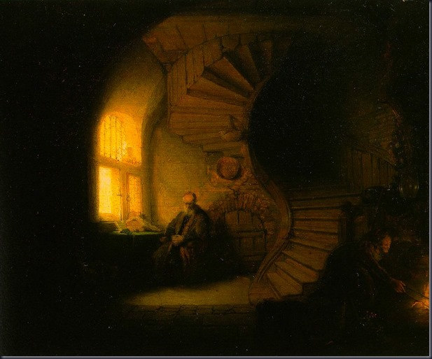 rembrandt - Philosopher in Meditation. 1632. Oil on wood. 28 x 34 cm. Louvre Museum, Paris
