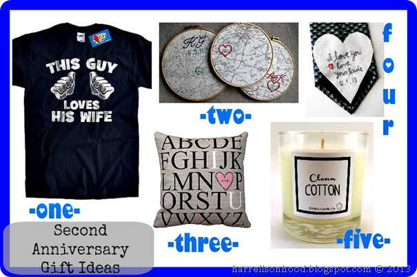 The Harrells on Hood: 2nd Anniversary Gift Ideas [and my etsy finds]