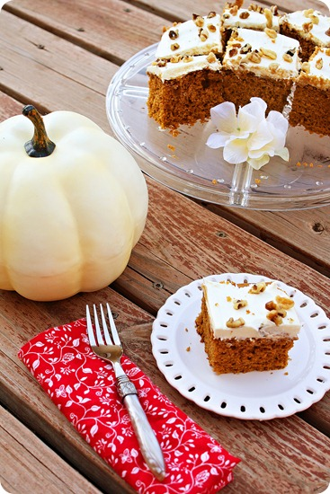 This pumpkin spice cake, baked to fluffy perfection with pumpkin puree ...
