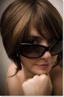 woman wearing huge sunglasses