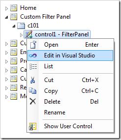 Editing the custom user control file in Visual Studio.