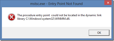 mstsc.exe - Entry Point Not Found