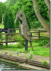 6 wooden bird by some permanent moorings on padd arm