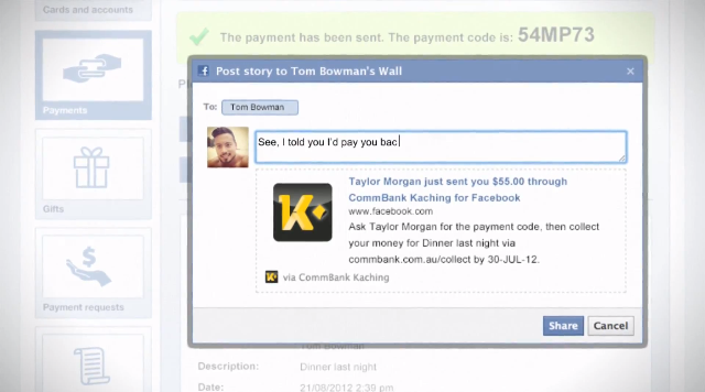Posting payment info to a friend&#039;s wall