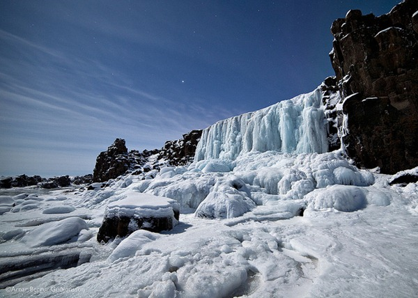 Frozen xarrfoss waterfall, ingvellir, Iceland