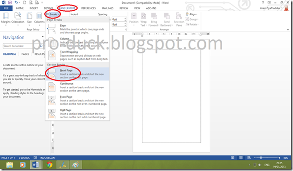 how to make the next page landscape in word