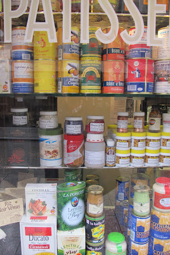 Windows of all stores provided inspiration for color. The food labels in this grocery store window were so inspiring.