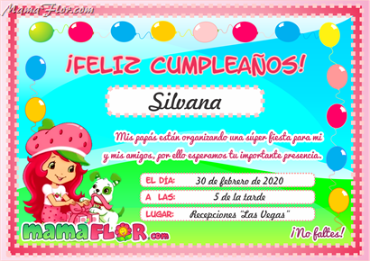 Tarjeta de Cumpleaños de Rosita FRESITA para Imprimir - Invitaciones de Fiesta Infantil