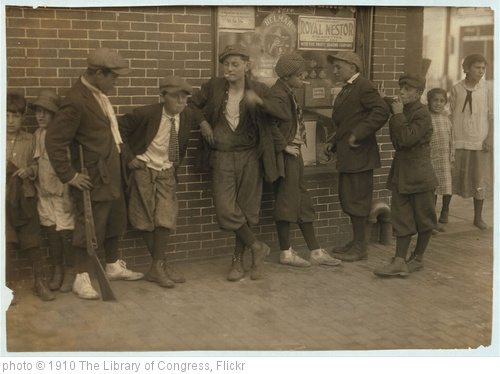 '[Street gang - cor[ner] Margaret & Water Streets - 4:30 P.M.] Location: Springfield, Massachusetts. (LOC)' photo (c) 1910, The Library of Congress - license: http://www.flickr.com/commons/usage/