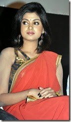 Oviya Hot in Red Saree Photos @ Madha Yaanai Koottam Audio Release