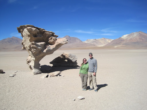 In front of the Arbol de Piedra rock formation.