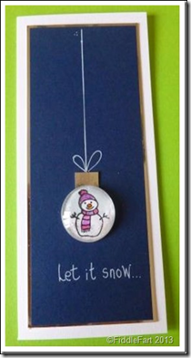 Let it snow glass bauble card