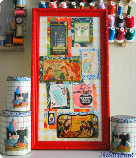 Vintage Sewing Notion Wall Art
