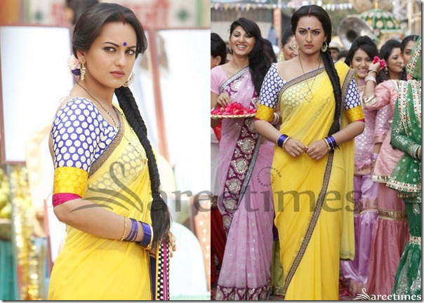 Sonakshi_Sinha_Yellow_Plain_Saree