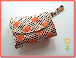 orange tartan nappy wallet