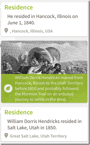Example historical insight from Ancestry iPad app: Mormon Trail