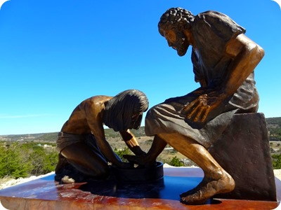 Jesus washes Peter's feet.