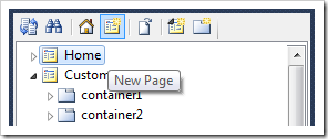 New Page context menu option on Project Explorer toolbar.