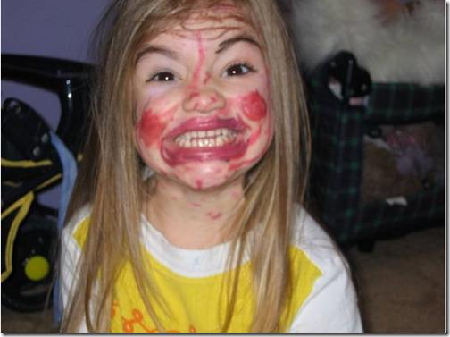 fotos divertidas de niños maquillada