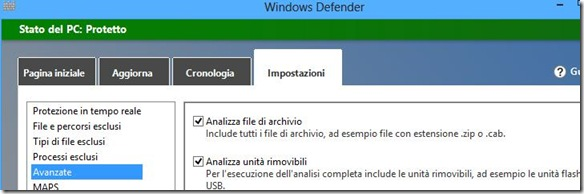 Windows Defender Analizza unità rimovibili