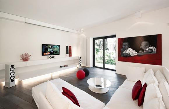 salon moderno en rojo y blanco