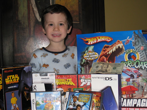 Look at the loot for the 5th birthday!