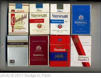 'Cigarette Packets - Chesterfield, Peter Stuyvesant Extra Mile, Dunhill Superior Mild, Lambert & Butler Special Mild, Dunhill,  Royal Standard, Embassy Number 1 King Size' photo (c) 2011, Sludge G - license: http://creativecommons.org/licenses/by-sa/2.0/