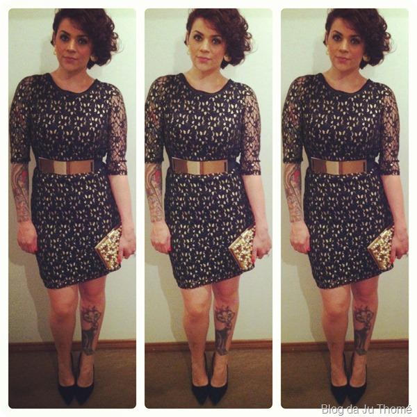 look formatura vestido de renda, cinto de metal,clutch Cyntia Fontanella