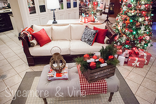 Stunning Plaid Country Christmas. A truly stunning Christmas Home Tour as part of the Christmas in the Country Blog Tour. This Plaid Inspired Country Christmas will knock your socks off. Features tours of the Living room, Dining Room and a Cocoa hot chocolate bar in the Breakfast room. There is so much inspiration for Christmas decorations in this one post. Be prepared to feel like you are cuddled up by the fire in a warm Northwoods comfy cottage! #country #Christmas #Plaid #Holiday decorating #Holiday ideas #Holidays #Christmas decor #Holiday decor