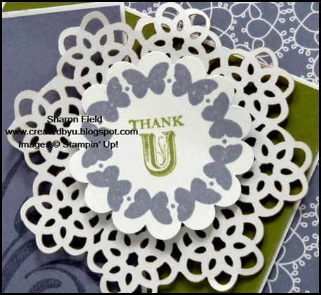 SFF0701, New Idea Book and Catalog, Created By You, Sharon Field, Precious Butterflies, Flirtatious Specialty, Designer Series Paper, Scallop Circle, Punch, Wisteria Wonder, Sketch, sketch frenzy friday, design team, createdbyu