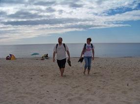 Con Sergei en la playa de Juodkrantė