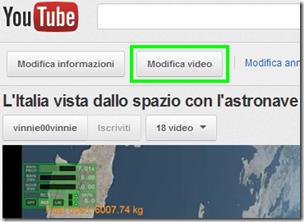 Pulsante Modifica video di YouTube