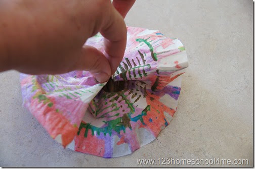 Spring flower craft with salad spun coffee filter