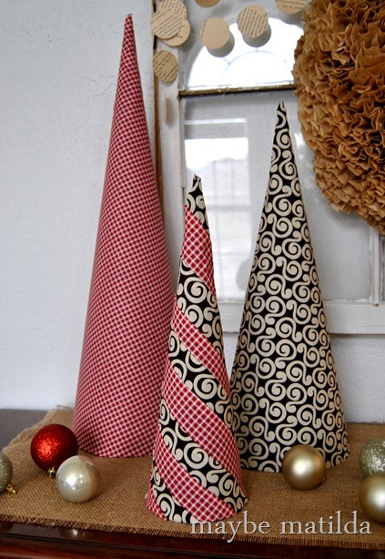 DIY Posterboard and Fabric Tree Cones