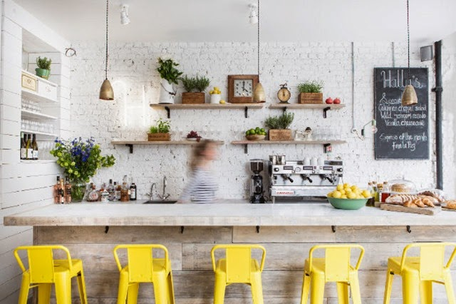 K Interiors Cafe yellow stools