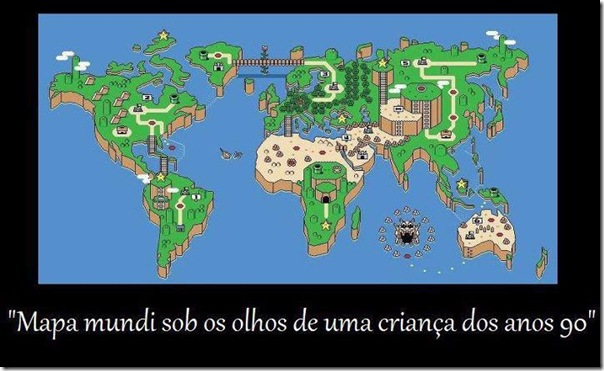 Mapa mundi sob os olhos de uma criança dos anos 90