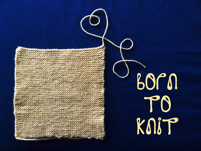 born to knit the first square