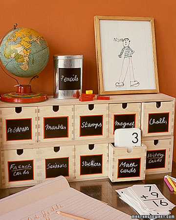 Get organized -- again and again -- with these chalkboard drawers. The labels can be erased as contents in each drawer change.