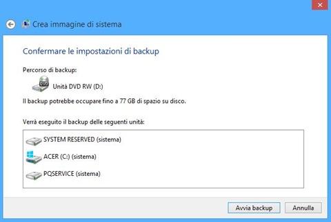 Windows 8 Confermare le impostazioni di backup