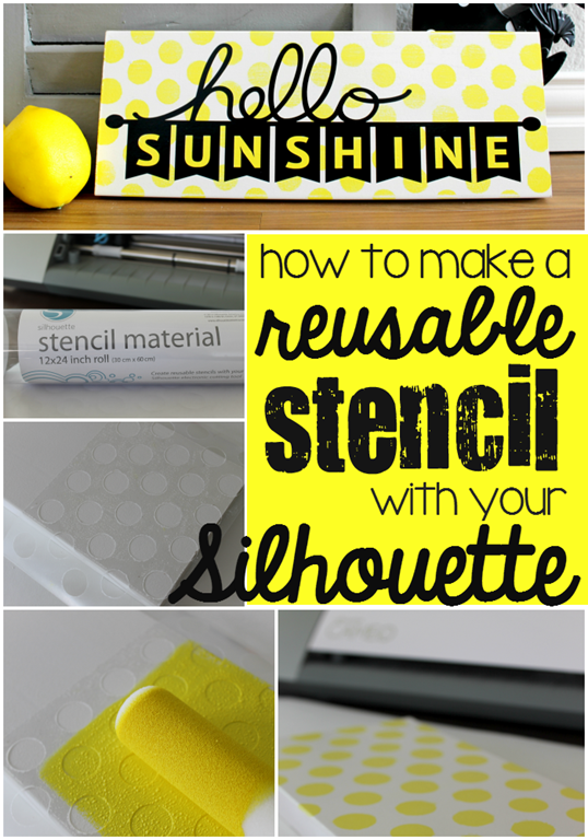 How to Make a Reusable Stencil with your Silhouette at GingerSnapCrafts.com #SilhouetteCAMEO #SilhouettePortrait #stenciling #tutorial #spon