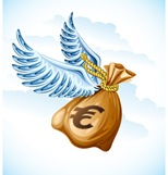 flying sack of euro money with wings